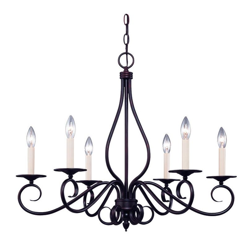"""Savoy House KP-103-6 Oxford 6 Light 25"""" Wide 1 Tier Chandelier English"""
