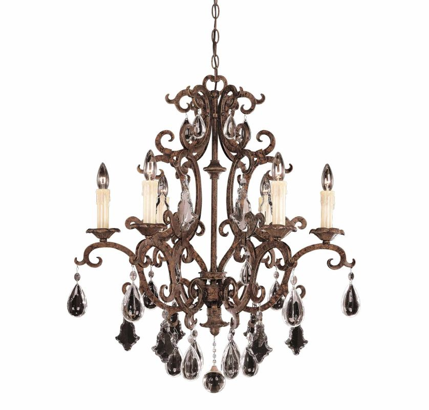 "Savoy House 1-1402-6 Florence 6 Light 28"" Wide 1 Tier Chandelier with"