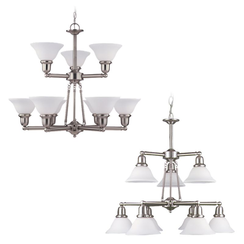 Sea Gull Lighting 31062 Wrought Iron 9 Light Down Lighting Chandelier