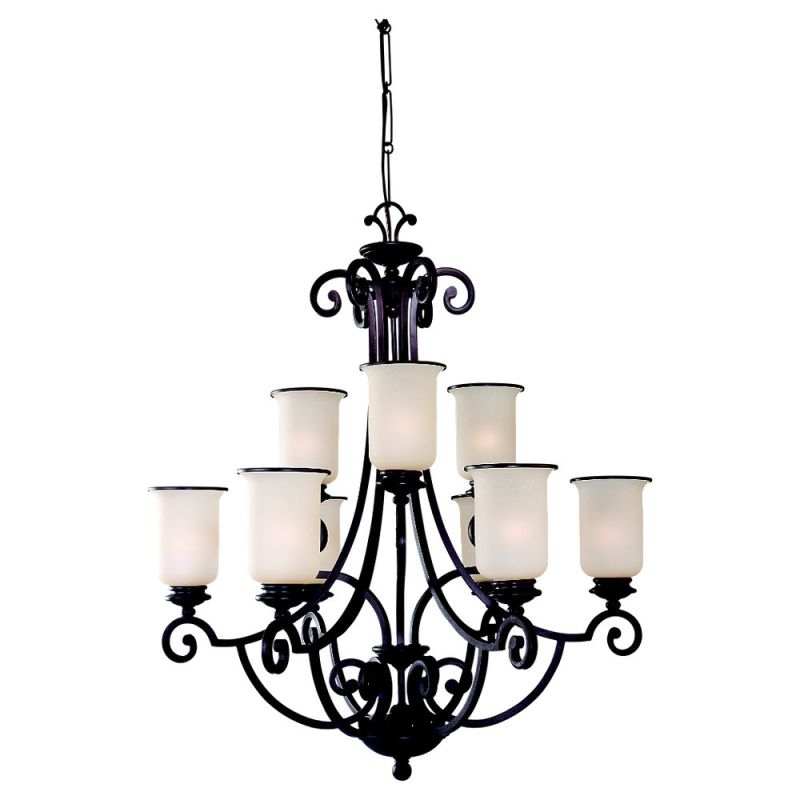 Sea Gull Lighting 31147 Craftsman / Mission Nine Light Chandelier from