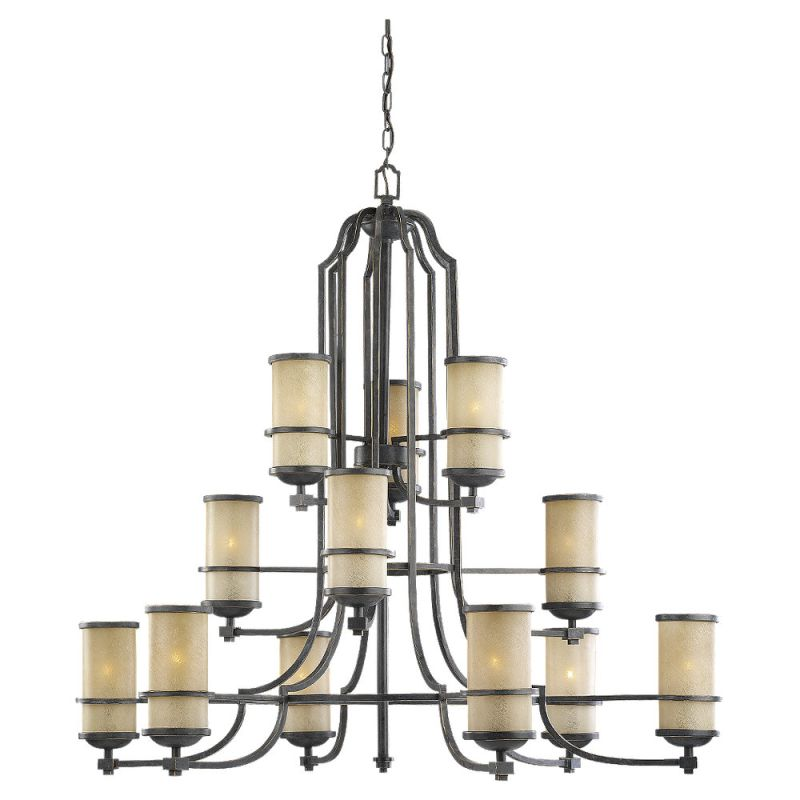 Sea Gull Lighting 31523 845 Flemish Bronze Wrought Iron Twelve Light Chandeli