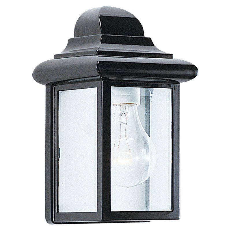 Sea Gull Lighting 8588-12 Black Georgian Cast Outdoor 1 Light Lantern Wall Sconce ...