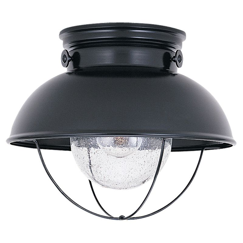 Sea Gull Lighting 8869 12 Black Sebring 1 Light Outdoor Flush Mount Ceiling F
