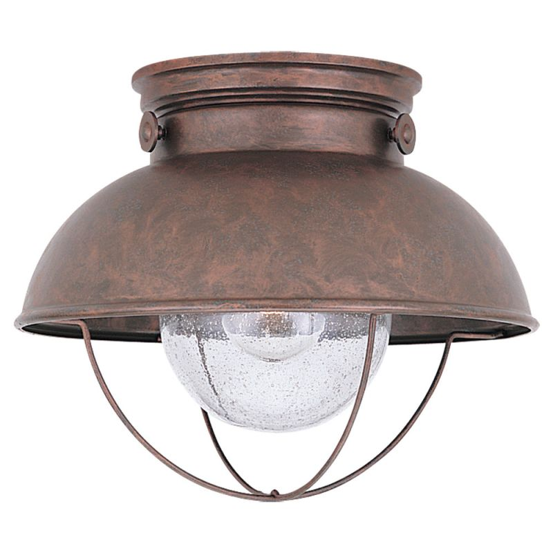 Sea Gull Lighting 8869 44 Weathered Copper Sebring 1 Light Outdoor Flush Mount Ceiling Fixture