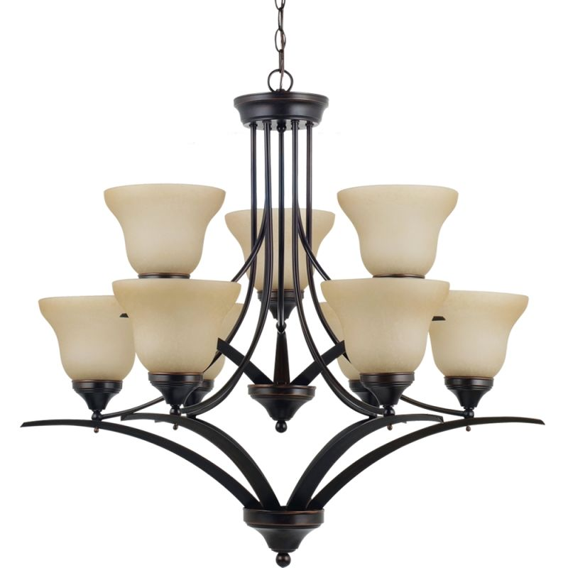 Sea Gull Lighting 31175 Brockton Nine Light Chandelier Burnt Sienna