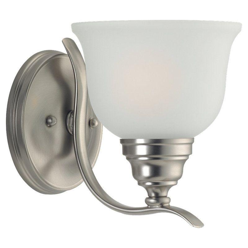 Sea Gull Lighting 44625 Wheaton 1 Light Bathroom Sconce Brushed Nickel