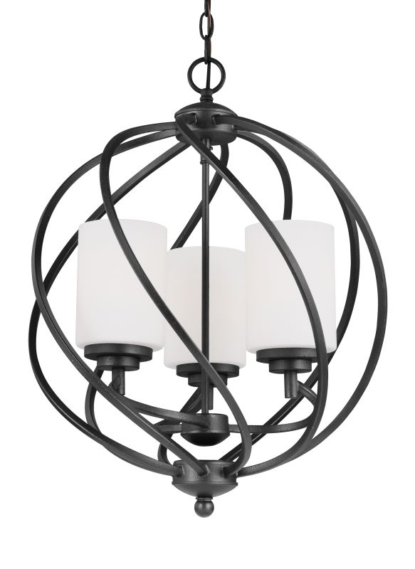 Sea Gull Lighting 5125203 Goliad 3 Light Foyer Pendant Blacksmith