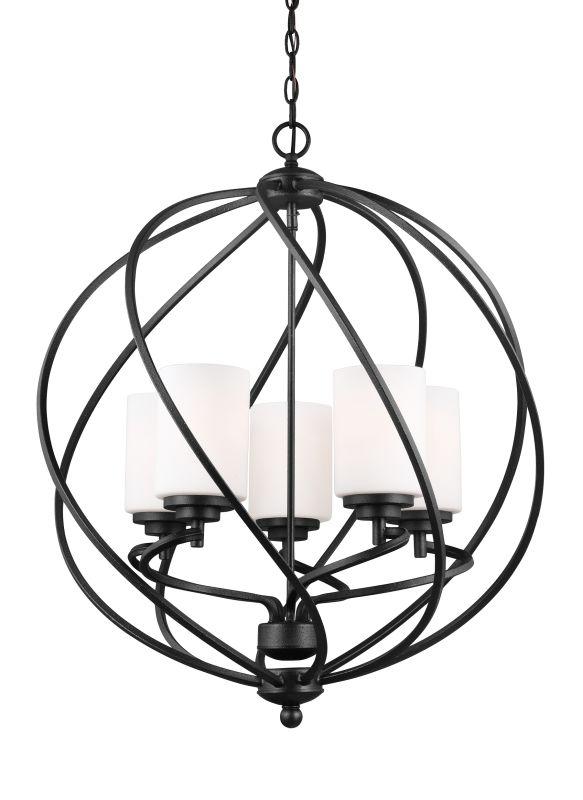 Sea Gull Lighting 5125205BLE Goliad 5 Light Foyer Pendant Blacksmith