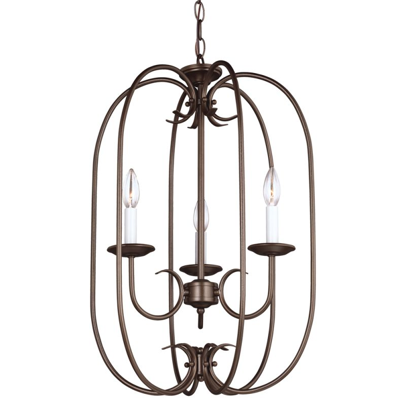 Sea Gull Lighting 51806 Holman 3 Light Full Sized Pendant Bell Metal
