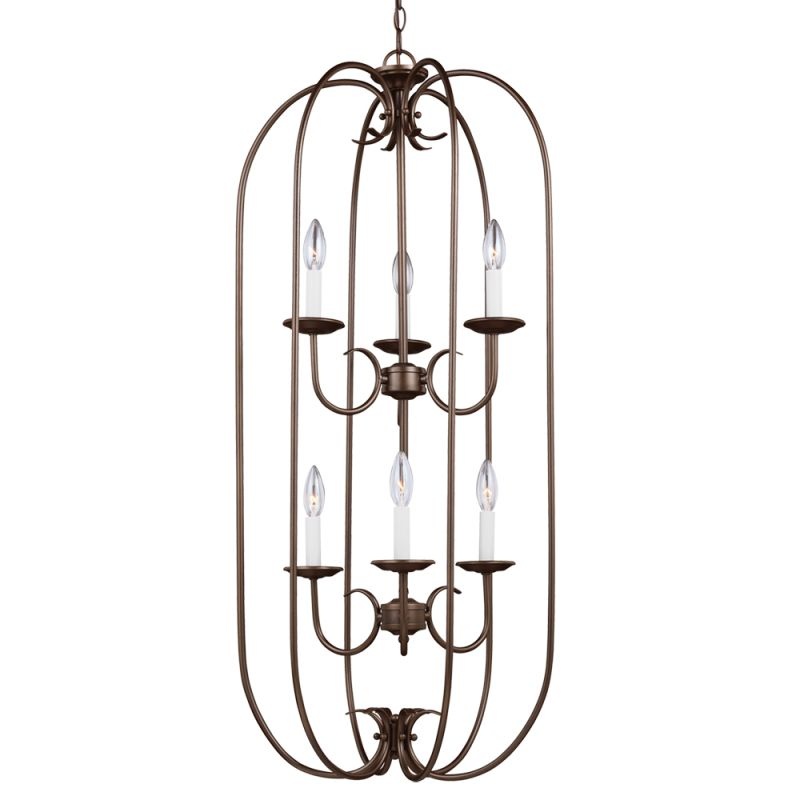 Sea Gull Lighting 51807 Holman 6 Light Full Sized Pendant Bell Metal