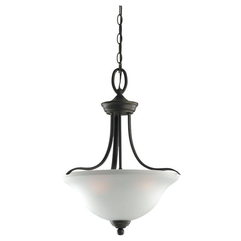 Sea Gull Lighting 65626 Wheaton 3 Light Bowl Shaped Pendant Heirloom