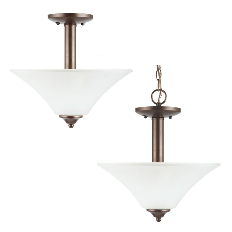 Sea Gull Lighting 77806 Holman Convertible 2 Light Semi-Flush Ceiling
