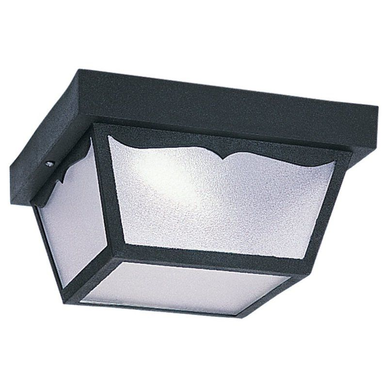 Sea Gull Lighting 79121BLE 12 Black Outdoor Ceiling 1 Light Flush Mount Ceili