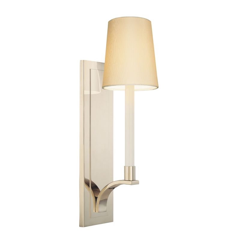 Sonneman 1825 Curva 1 Light Wall Sconce with Silk Shantung Shade