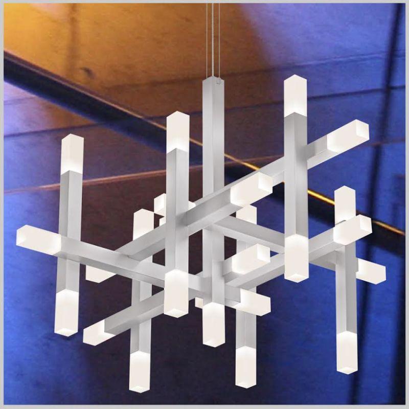 Sonneman 2135 Connetix 25 Light LED Pendant with Etched White Shades