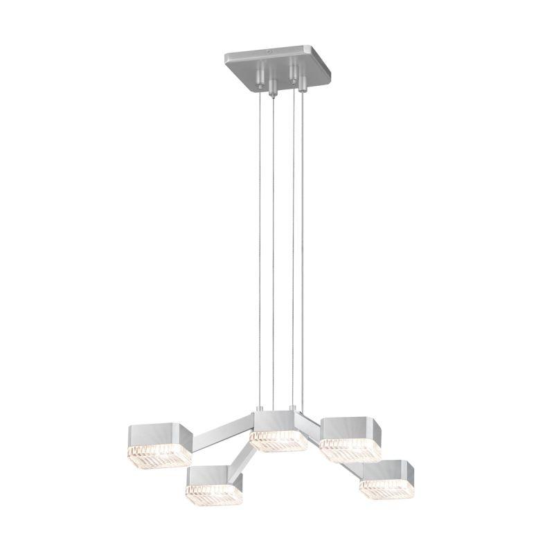 Sonneman 2325 Lattice 5 Light LED Pendant Bright Satin Aluminum with