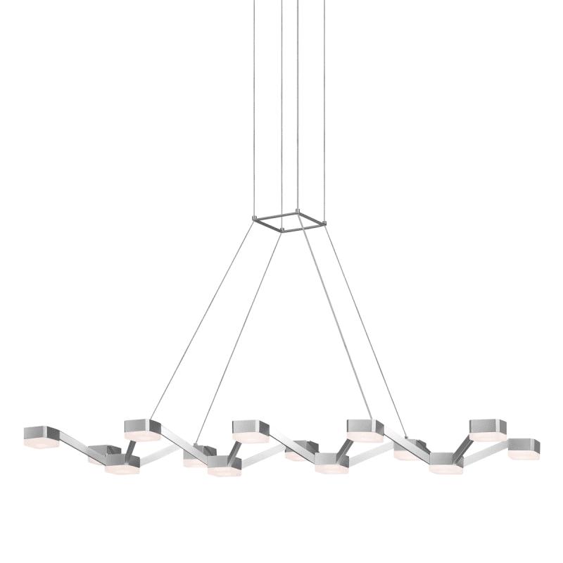 Sonneman 2327 Lattice 14 Light LED Pendant Bright Satin Aluminum with