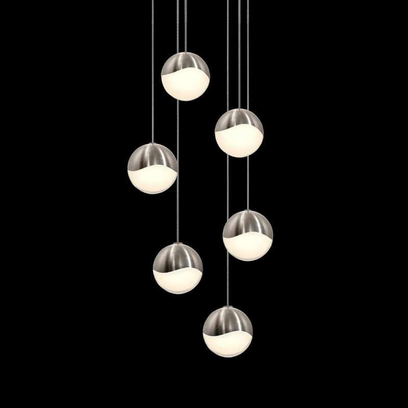 """Sonneman 2915-LRG Grapes 6 Light LED Pendant Satin Nickel Indoor Sale $1590.00 ITEM: bci2655400 ID#:2915.13-LRG UPC: 872681062987 Features: Glass globe shades Designed to cast a soft ambient light over a wide area Capable of being dimmed - allowing you to set your desired illumination levels when used with dimmable bulbs Includes 120"""" of cord ETL Listed for Dry Location Requires (1) 5.5 watt LED bulb (Included) Lamping Technology: LED - Light Emitting Diode: Highly efficient integrated diodes produce little heat and have an extremely long lifespan. Dimensions: Height: 3.75"""" (measured from ceiling to bottom most point of fixture) Width: 11.75"""" (measured from furthest point left to furthest point right on fixture) Shade Diameter: 3.75"""" Electrical Specifications: Bulb Included: Yes Bulb Type: LED Number of Bulbs: 6 Watts Per Bulb: 5.5 Wattage: 33 Voltage: 120v Compliance: ETL Listed - Indicates whether a product meets standards and compliance guidelines set by Nationally Recognized Testing Laboratory(NRTL). This listing determines what types of rooms or environments a product can be used in safely. :"""