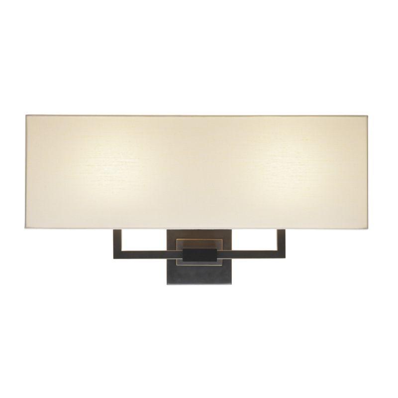 Sonneman 3383 Hanover 2 Light Wall Sconce with Cream Linen Shade Black
