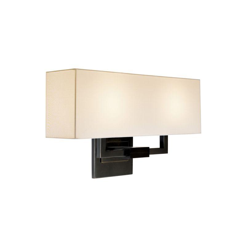Sonneman 3384 Hanover 2 Light Wall Sconce with Cream Linen Shade Black