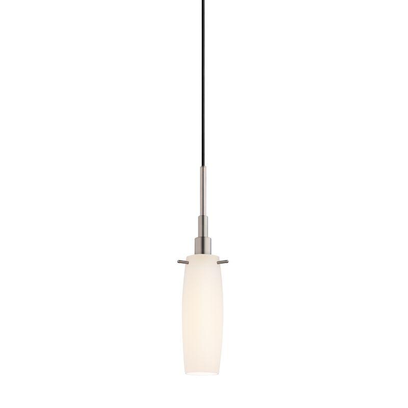 Sonneman 3552 Candela 1 Light Pendant with White Shade Satin Nickel