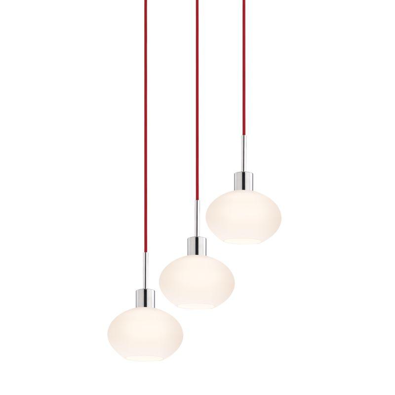 Sonneman 3565-3 Glass Pendants 3 Light Pendant with White Shade