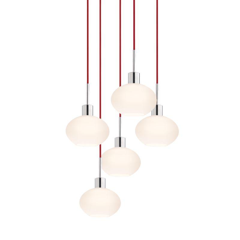 Sonneman 3565-5 Glass Pendants 5 Light Pendant with White Shade