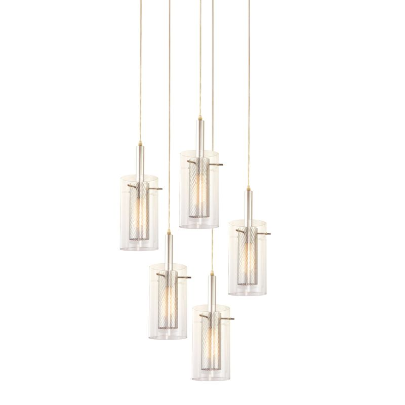Sonneman 4397.57 Zylinder 5 Light Pendant with Clear Shade Black /
