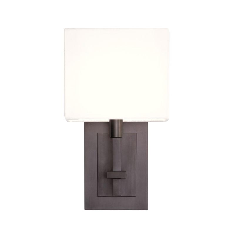 Sonneman 4435 Montana 1 Light Wall Sconce with White Linen Shade Black