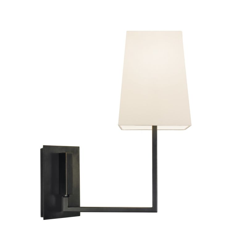 Sonneman 4445 Verso 1 Light Wall Sconce with White Linen Shade Black