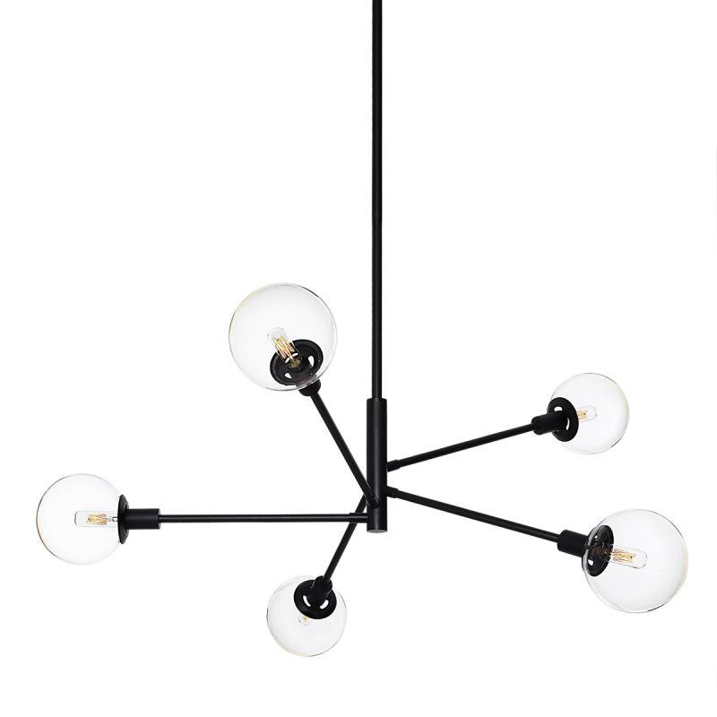 Sonneman 4595 Orb 5 Light Pendant with Clear Glass Shades Satin Black
