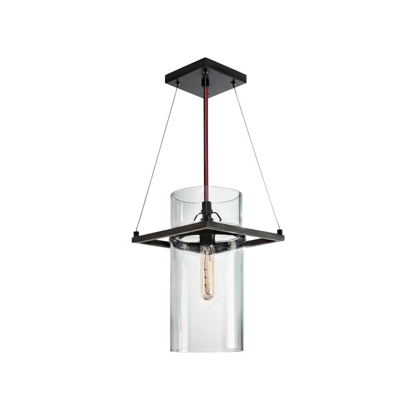 Sonneman 4761 Square Ring 1 Light Pendant with Clear Shade Satin Black