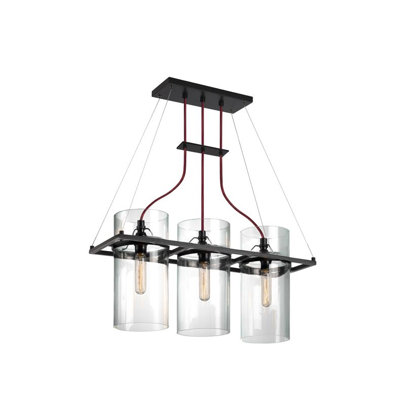 Sonneman 4763 Square Ring 3 Light Pendant with Clear Shade Satin Black