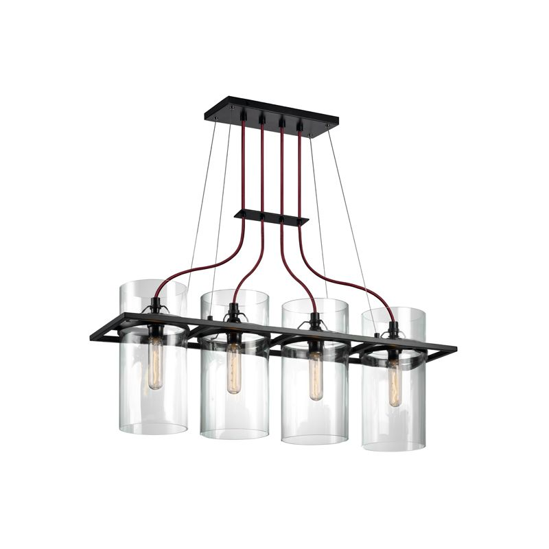 Sonneman 4764 Square Ring 4 Light Pendant with Clear Shade Satin Black Sale $990.00 ITEM: bci2406128 ID#:4764.25 UPC: 872681055989 :