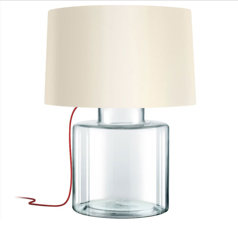 Sonneman 4770 Grasso 1 Light Table Lamp with Linen Shade Clear Glass