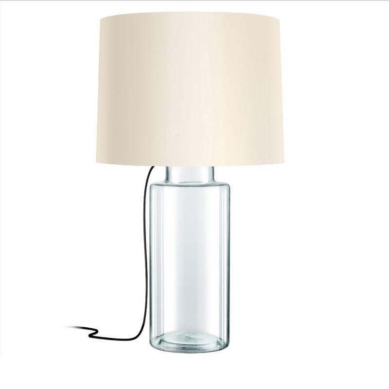Sonneman 4775 Vaso 1 Light Table Lamp with Linen Shade Clear Glass