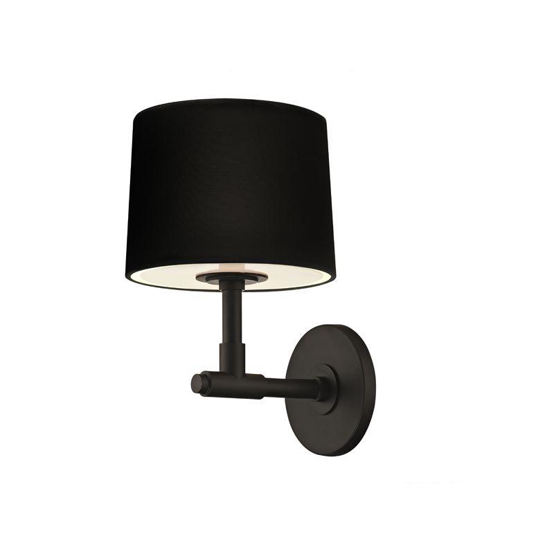 Sonneman 4950 Soho 1 Light Wall Sconce with Black Linen Shade Satin