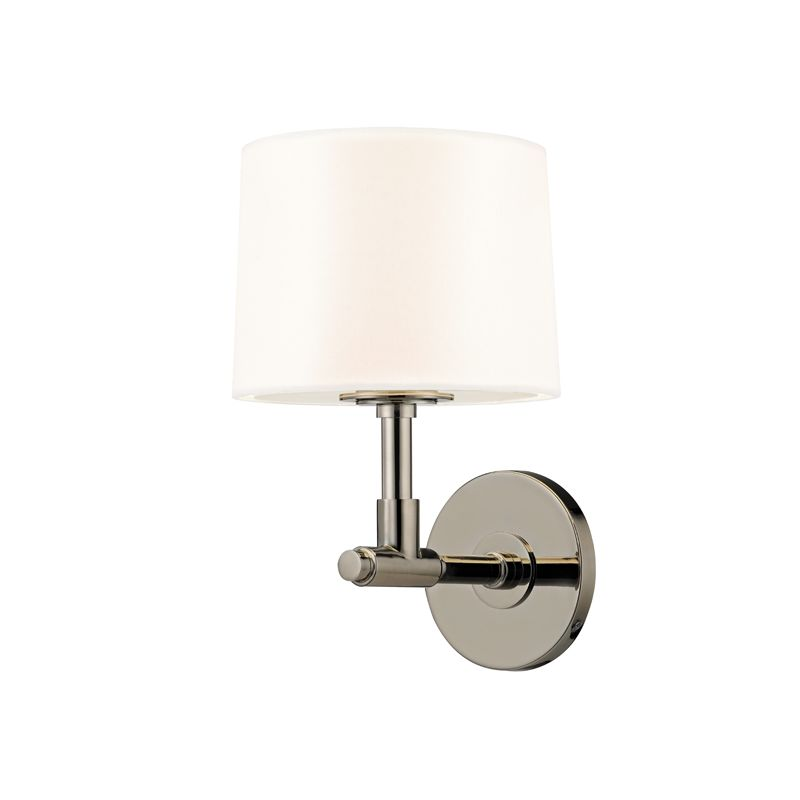 Sonneman 4950 Soho 1 Light Wall Sconce with Black Linen Shade Polished