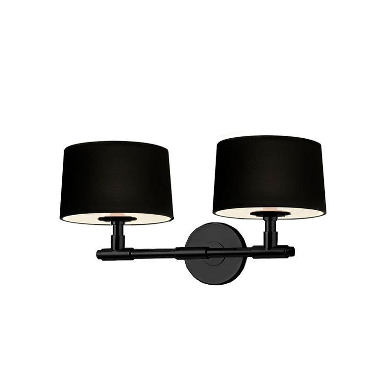 Sonneman 4951 Soho 2 Light Wall Sconce with Black Linen Shade Satin