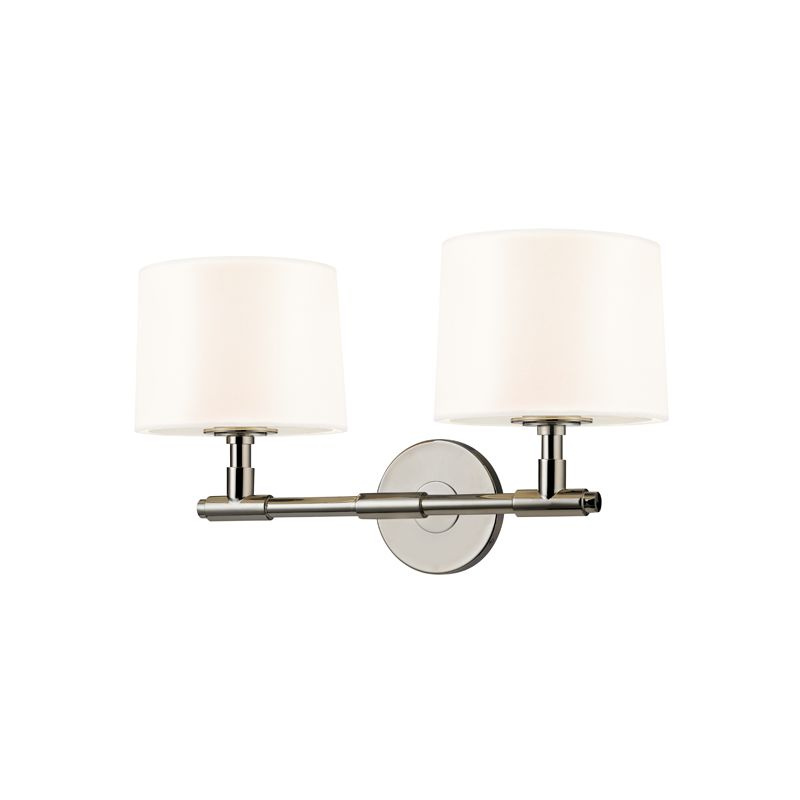 Sonneman 4951 Soho 2 Light Wall Sconce with Black Linen Shade Polished