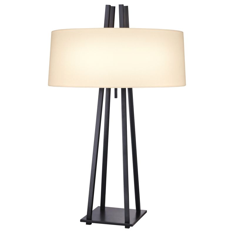 Sonneman 6160 West 12th 2 Light Table Lamp with Cream Shade Anthracite