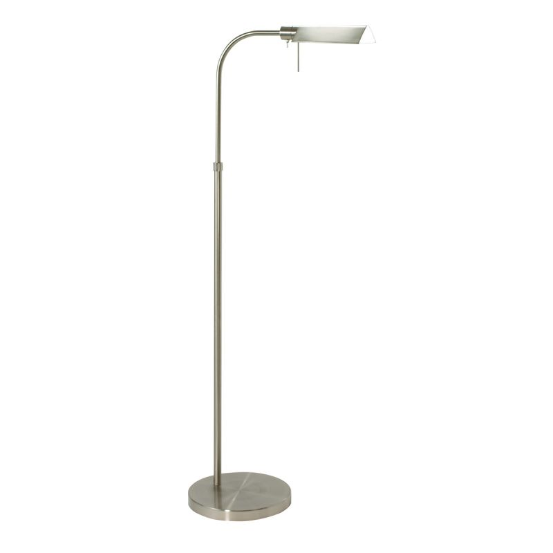 """Sonneman 7005 Tenda 1 Light Swing Arm Floor Lamp Satin Nickel Lamps Sale $240.00 ITEM: bci525561 ID#:7005.13 UPC: 872681007797 Features: Available in Multiple Finishes Made of Sturdy Metal Material High / Low Switch UL Listed for Dry Locations Lamping Technology: Bulb Base - G9: A bi pin or 'bi pin socket', G9 bulbs have a pin spread of 9 mm and are used mostly in 120V or 230V fixtures with halogen bulbs. Compatible Bulb Types: G9 Bulb base uses primarily a Halogen bulb but is also available as Fluorescent, LED, and Xenon / Krypton. Specifications: Base Style: Pedestal Bulb Base: G9 Bulb Included: Yes Bulb Type: Xenon / Krypton Energy Star: No Height: 37.5"""" Light Direction: Down Lighting Number of Bulbs: 1 Shade: Yes Shade Color: Black, Brass, Bronze, Nickel Shade Height: 2"""" Shade Material: Metal Shade Shape: Triangle Shade Width: 6.5"""" Swing Arm: Yes Switch Type: High / Low UL Listed: Yes UL Rating: Dry Location Voltage: 120v :"""