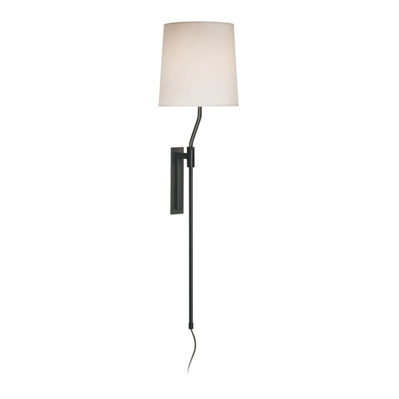 Sonneman 7009 Palo 1 Light Wall Sconce with White Linen Shade Black