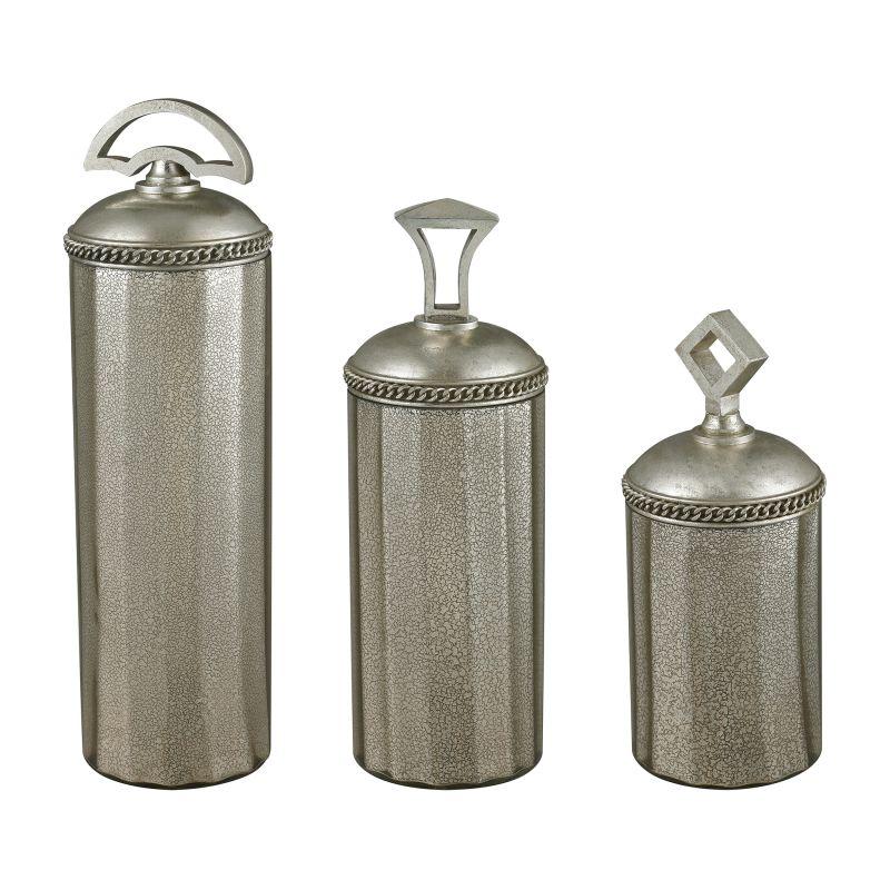 Sterling Industries 112-1128/S3 Halten Antique Mercury Glass Jars -