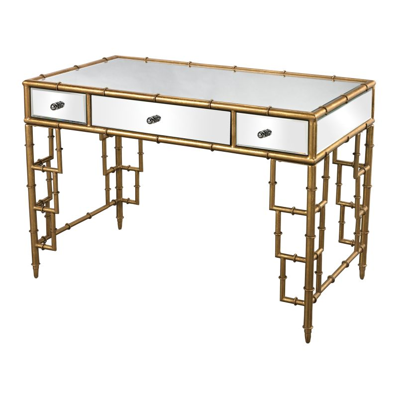 Sterling Industries 114-59 Mirror Top 3 Drawer Desk with Bamboo Frame