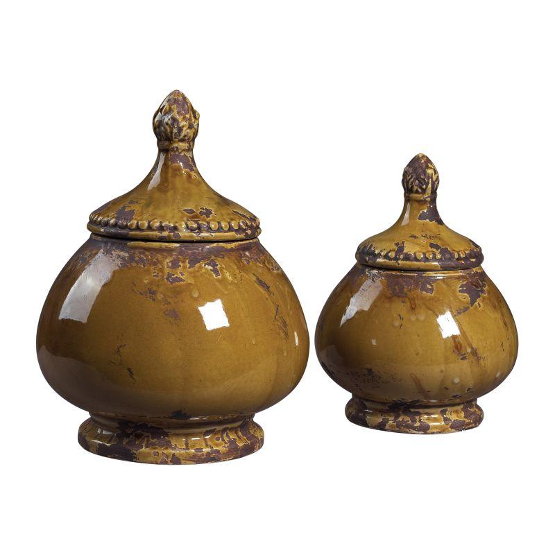 Sterling Industries 119-040 Set of 2 Ceramic Jars Dijon Home Decor
