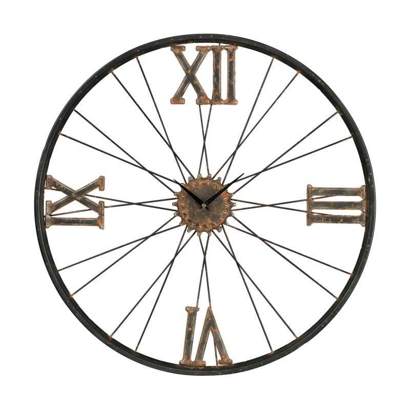 Sterling Industries 129-1088 Spokes Analog Wall Clock Rust Home Decor