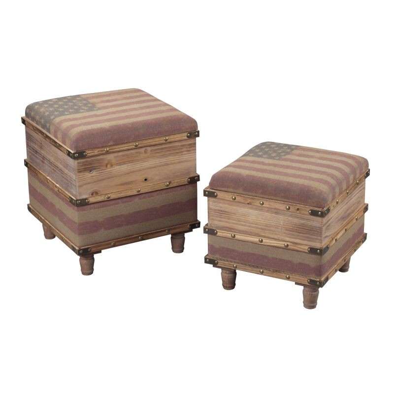 Sterling Industries 138-081/S2 National Wooden Storage Ottoman - Set