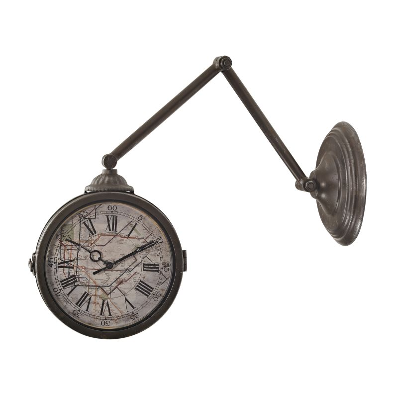 Sterling Industries 138-094 Double Sided Analog Wall Clock With Map Of