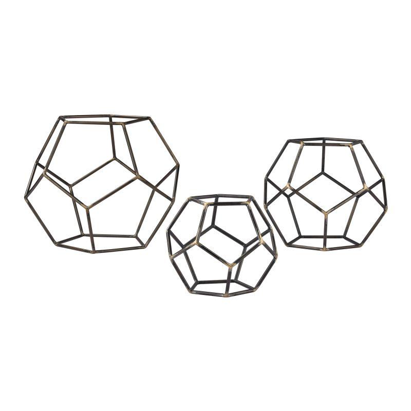 Sterling Industries 138-165/S3 Geometric Orbs - Set of Three Grey Iron